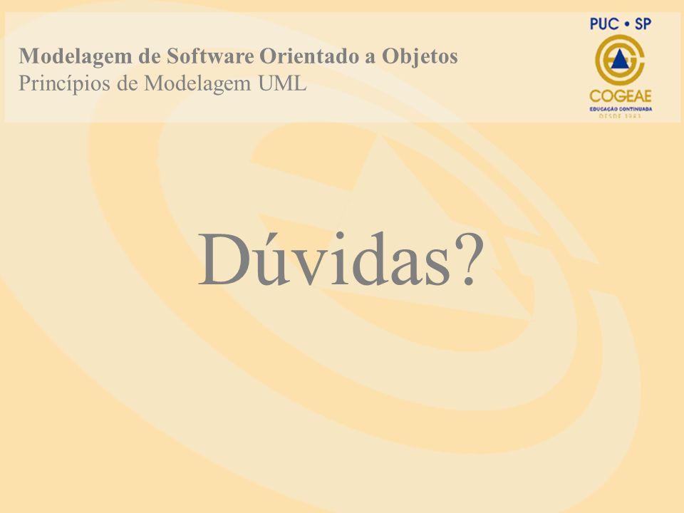 Dúvidas? Modelagem de Software Orientado a Objetos Princípios de Modelagem UML