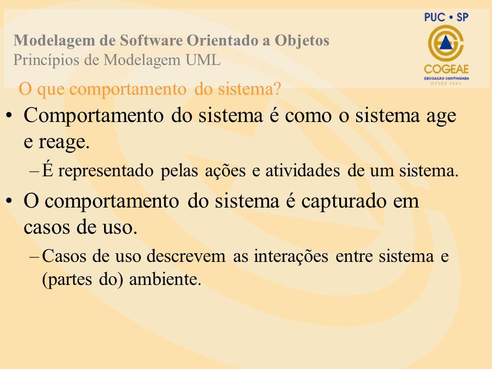 O que comportamento do sistema? Comportamento do sistema é como o sistema age e reage. –É representado pelas ações e atividades de um sistema. O compo
