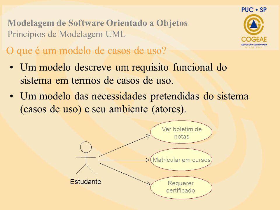 O que é um modelo de casos de uso? Um modelo descreve um requisito funcional do sistema em termos de casos de uso. Um modelo das necessidades pretendi