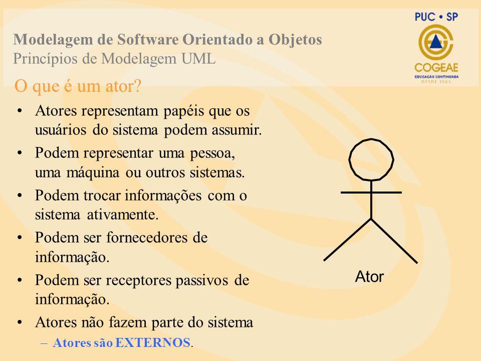 O que é um ator? Atores representam papéis que os usuários do sistema podem assumir. Podem representar uma pessoa, uma máquina ou outros sistemas. Pod