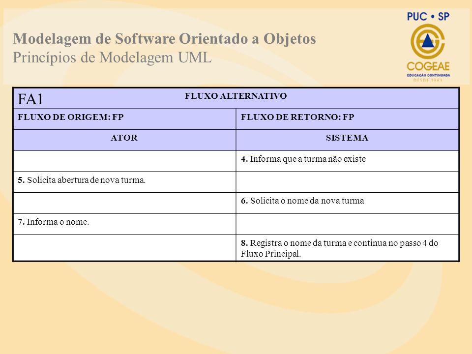 Modelagem de Software Orientado a Objetos Princípios de Modelagem UML FLUXO ALTERNATIVO FLUXO DE ORIGEM: FPFLUXO DE RETORNO: FP ATORSISTEMA 4. Informa