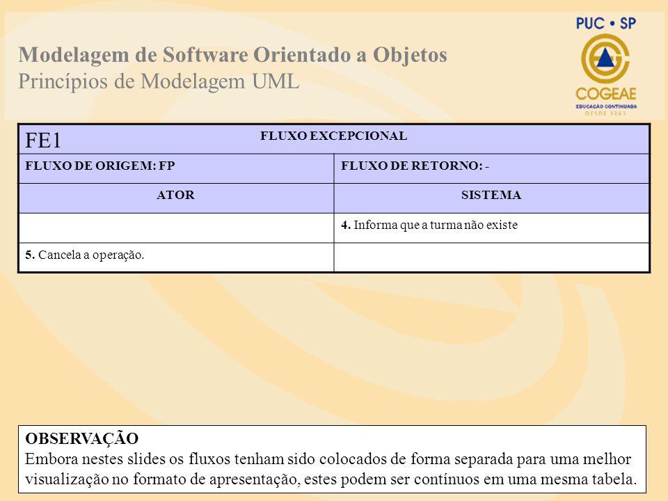 Modelagem de Software Orientado a Objetos Princípios de Modelagem UML FLUXO EXCEPCIONAL FLUXO DE ORIGEM: FPFLUXO DE RETORNO: - ATORSISTEMA 4. Informa