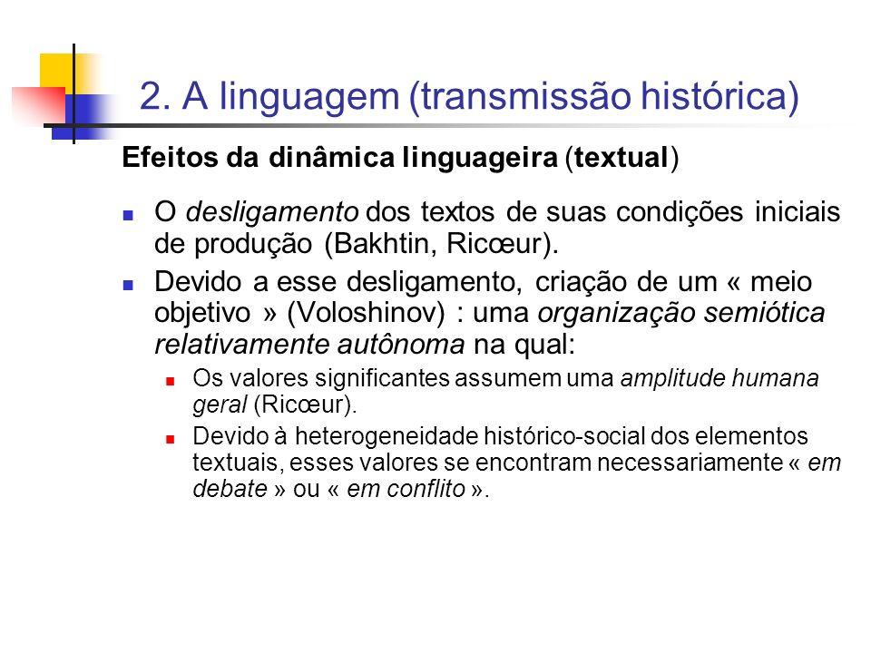 2. A linguagem (transmissão histórica) Efeitos da dinâmica linguageira (textual) O desligamento dos textos de suas condições iniciais de produção (Bak