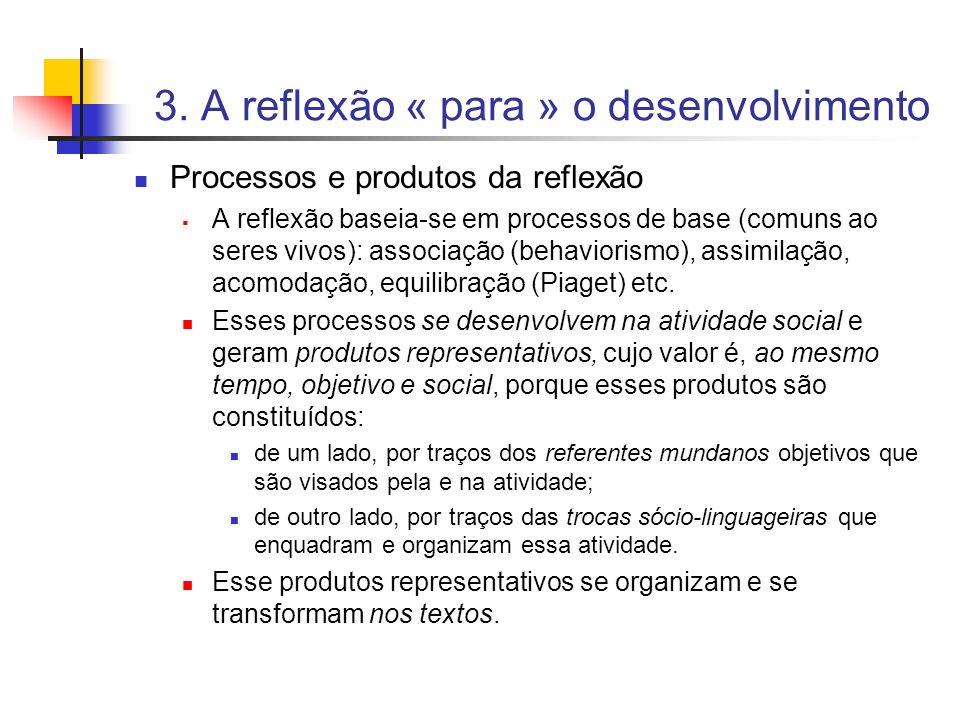 3. A reflexão « para » o desenvolvimento Processos e produtos da reflexão A reflexão baseia-se em processos de base (comuns ao seres vivos): associaçã