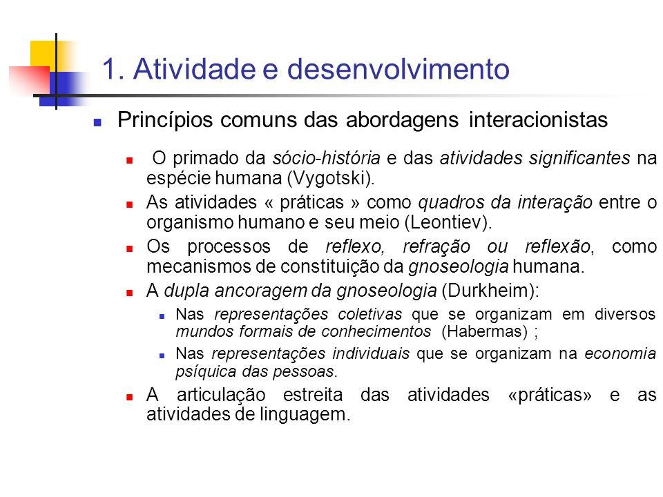 1. Atividade e desenvolvimento Princípios comuns das abordagens interacionistas O primado da sócio-história e das atividades significantes na espécie