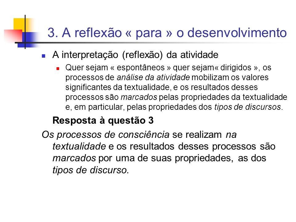 3. A reflexão « para » o desenvolvimento A interpretação (reflexão) da atividade Quer sejam « espontâneos » quer sejam« dirigidos », os processos de a
