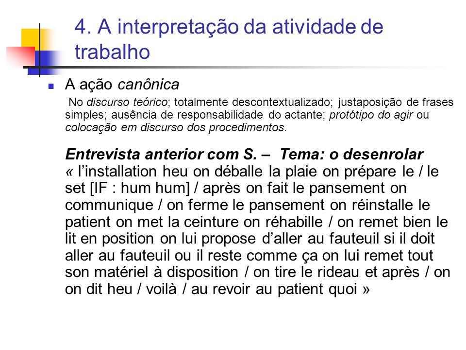 4. A interpretação da atividade de trabalho A ação canônica No discurso teórico; totalmente descontextualizado; justaposição de frases simples; ausênc