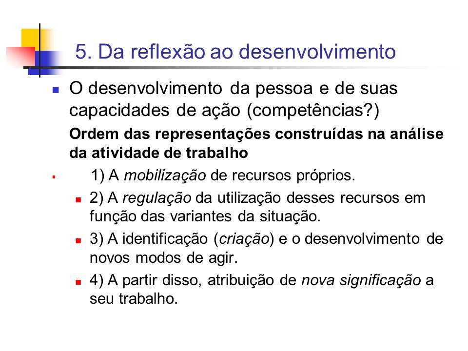 5. Da reflexão ao desenvolvimento O desenvolvimento da pessoa e de suas capacidades de ação (competências?) Ordem das representações construídas na an