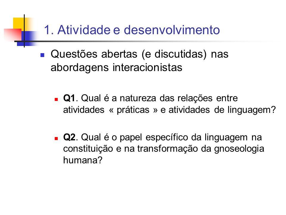 1. Atividade e desenvolvimento Questões abertas (e discutidas) nas abordagens interacionistas Q1. Qual é a natureza das relações entre atividades « pr