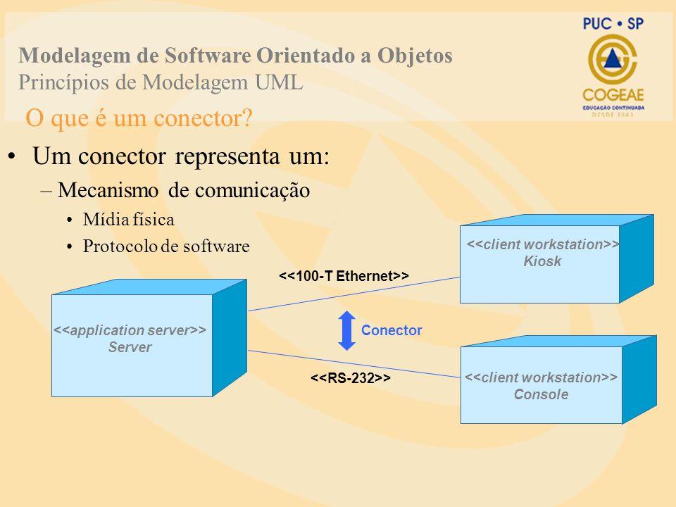 O que é um conector? Um conector representa um: –Mecanismo de comunicação Mídia física Protocolo de software > Server > Conector > Console > Kiosk Mod