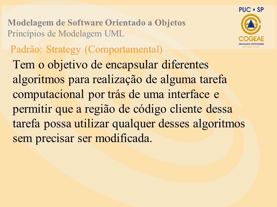 Padrão: Strategy (Comportamental) Tem o objetivo de encapsular diferentes algoritmos para realização de alguma tarefa computacional por trás de uma in