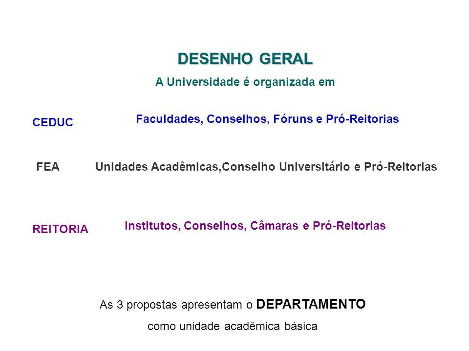 Institutos, Conselhos, Câmaras e Pró-Reitorias DESENHO GERAL A Universidade é organizada em CEDUC REITORIA Faculdades, Conselhos, Fóruns e Pró-Reitori