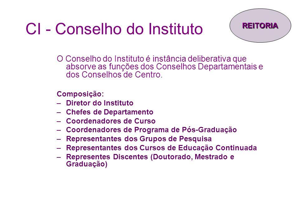 CI - Conselho do Instituto O Conselho do Instituto é instância deliberativa que absorve as funções dos Conselhos Departamentais e dos Conselhos de Cen