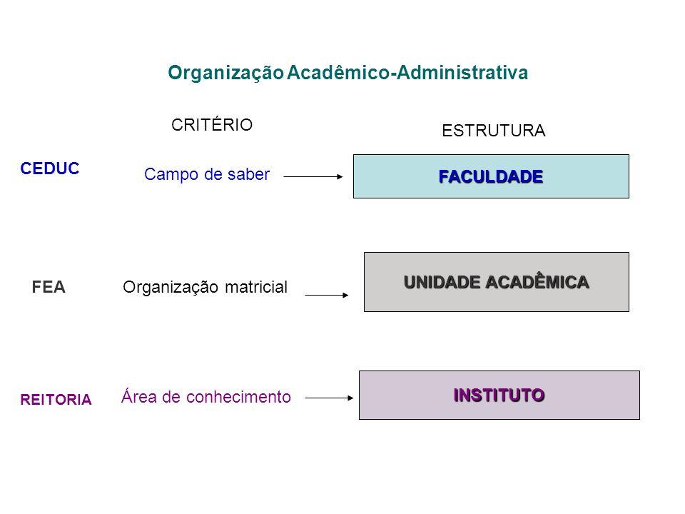 Organização Acadêmico-Administrativa CEDUC REITORIA FEA CRITÉRIO ESTRUTURA Campo de saber FACULDADE INSTITUTO UNIDADE ACADÊMICA Organização matricial