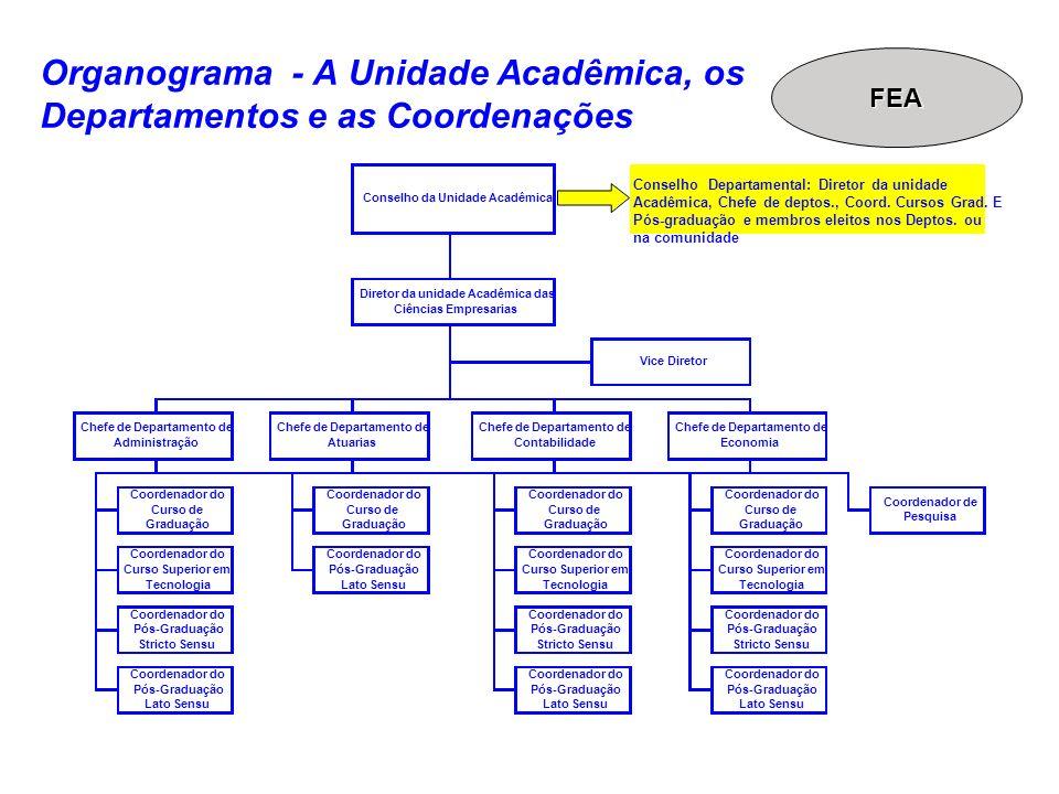 Organograma - A Unidade Acadêmica, os Departamentos e as Coordenações Coordenador do Pós-Graduação Lato Sensu Conselho da Unidade Acadêmica Diretor da