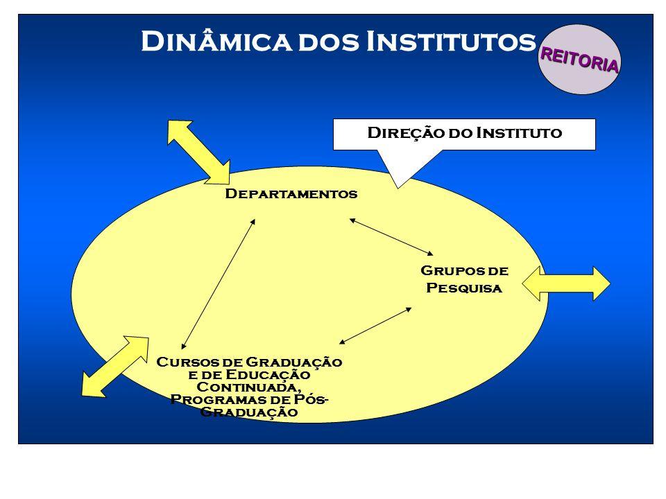 Dinâmica dos Institutos Grupos de Pesquisa Departamentos Cursos de Graduação e de Educação Continuada, Programas de Pós- Graduação Direção do Institut
