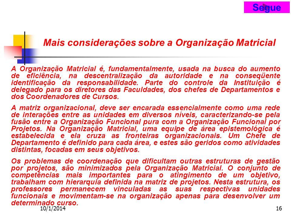 10/1/201416 Mais considerações sobre a Organização Matricial A Organização Matricial é, fundamentalmente, usada na busca do aumento de eficiência, na descentralização da autoridade e na conseqüente identificação da responsabilidade.