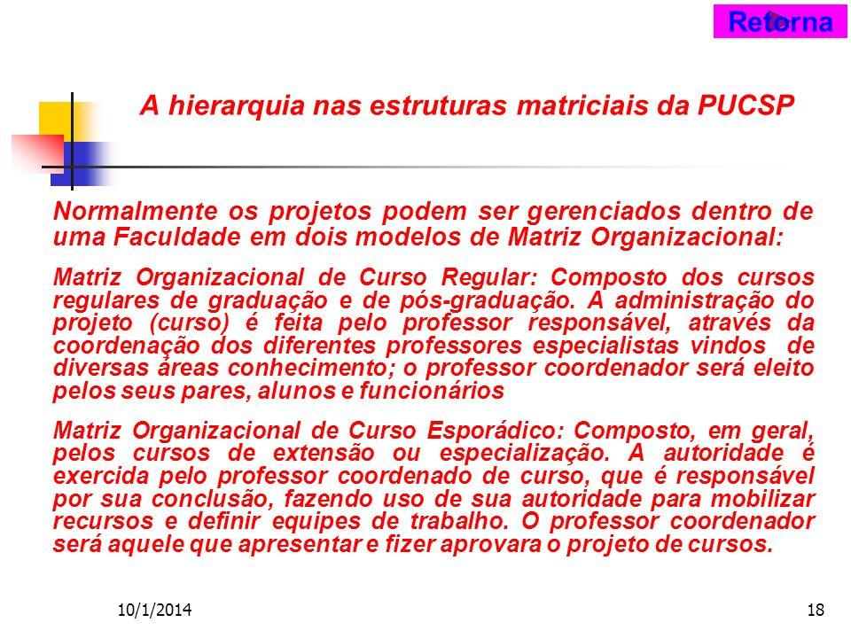10/1/201418 A hierarquia nas estruturas matriciais da PUCSP Normalmente os projetos podem ser gerenciados dentro de uma Faculdade em dois modelos de Matriz Organizacional: Matriz Organizacional de Curso Regular: Composto dos cursos regulares de graduação e de pós-graduação.