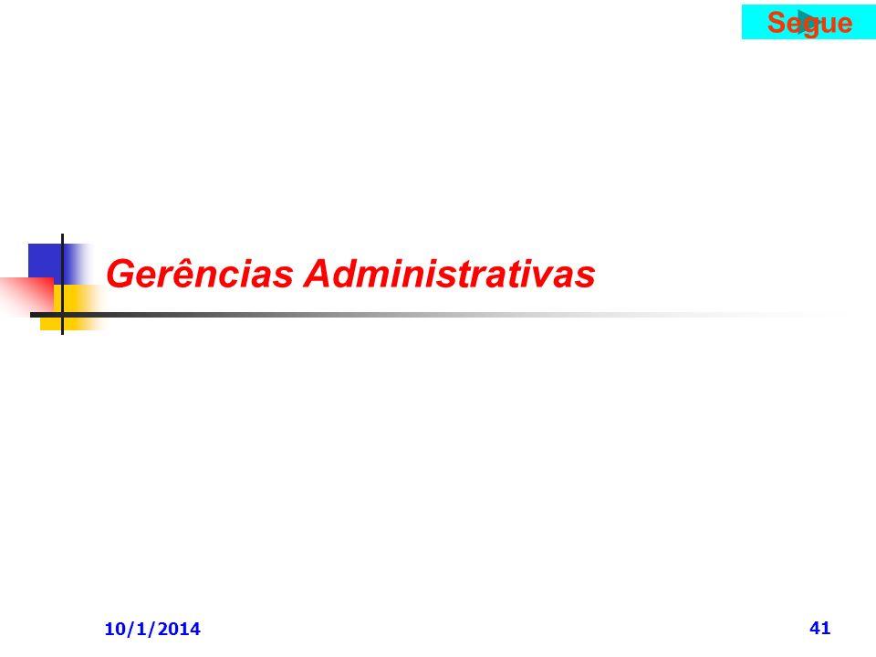 10/1/2014 41 Gerências Administrativas Segue