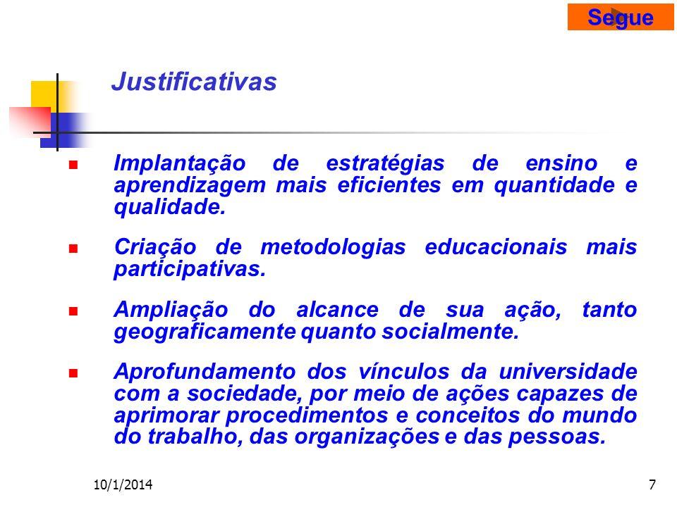 10/1/20147 Justificativas Implantação de estratégias de ensino e aprendizagem mais eficientes em quantidade e qualidade.