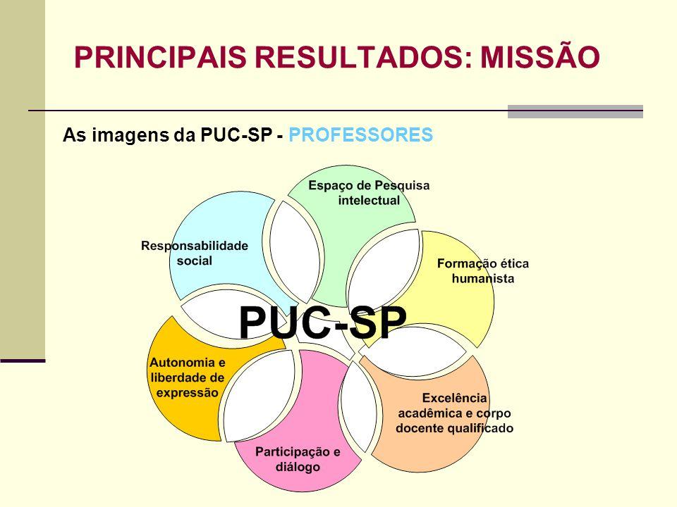 PRINCIPAIS RESULTADOS: MISSÃO As imagens da PUC-SP - PROFESSORES