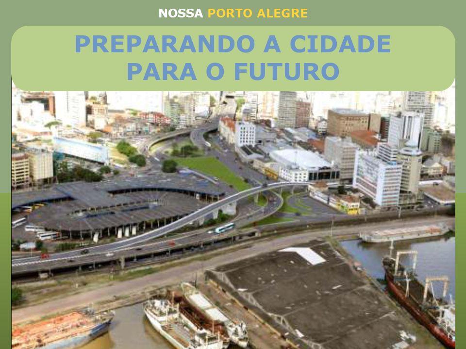 Construção de viaduto ligando as avenidas Júlio de Castilhos e Presidente Castelo Branco e estação de ônibus junto ao canteiro central. Será eliminado