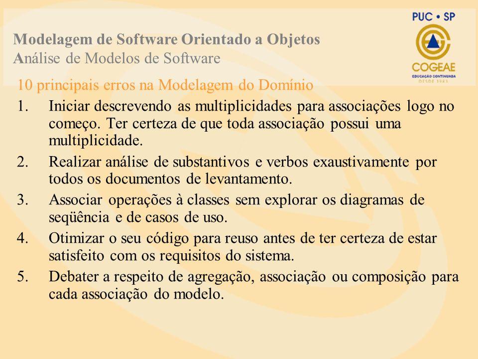 10 principais erros na Modelagem do Domínio 1.Iniciar descrevendo as multiplicidades para associações logo no começo.