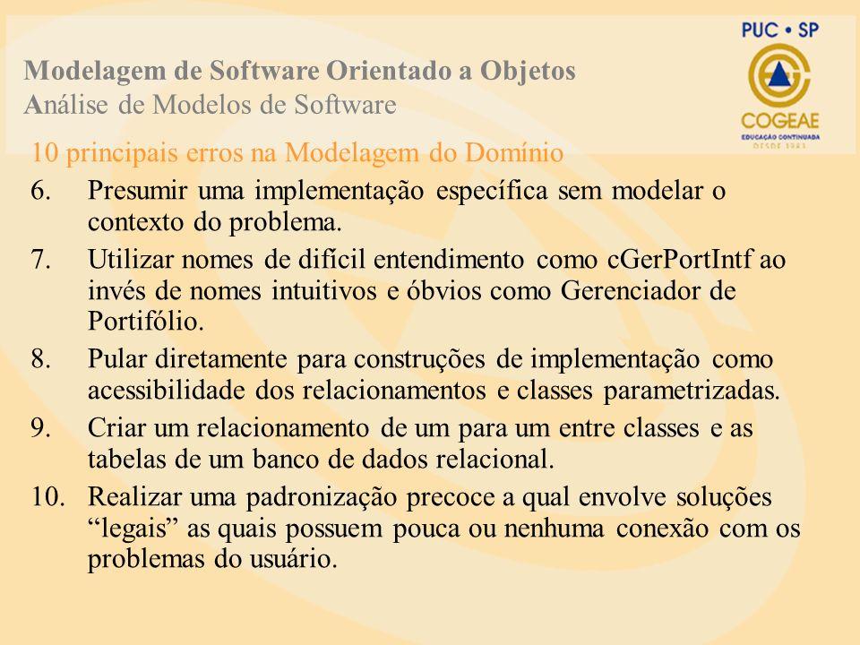 10 principais erros na Modelagem do Domínio 6.Presumir uma implementação específica sem modelar o contexto do problema.