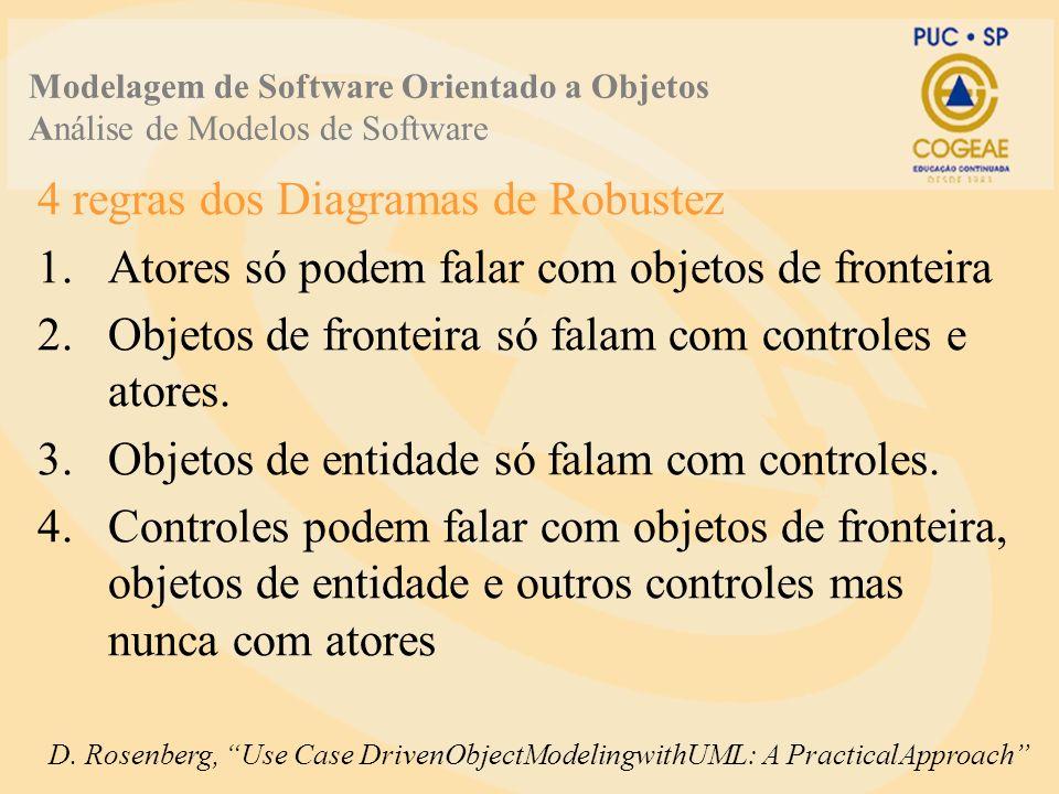 4 regras dos Diagramas de Robustez 1.Atores só podem falar com objetos de fronteira 2.Objetos de fronteira só falam com controles e atores.
