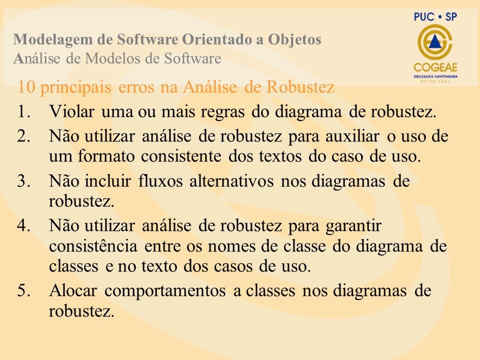 10 principais erros na Análise de Robustez 1.Violar uma ou mais regras do diagrama de robustez.