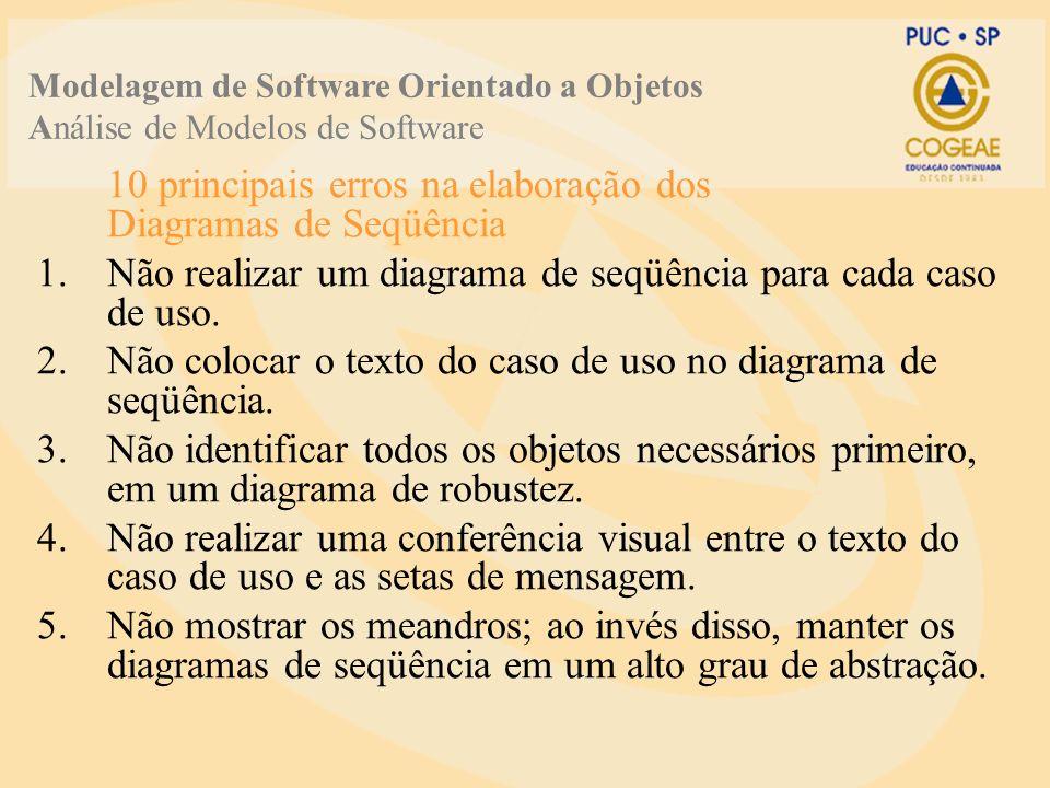 10 principais erros na elaboração dos Diagramas de Seqüência 1.Não realizar um diagrama de seqüência para cada caso de uso.