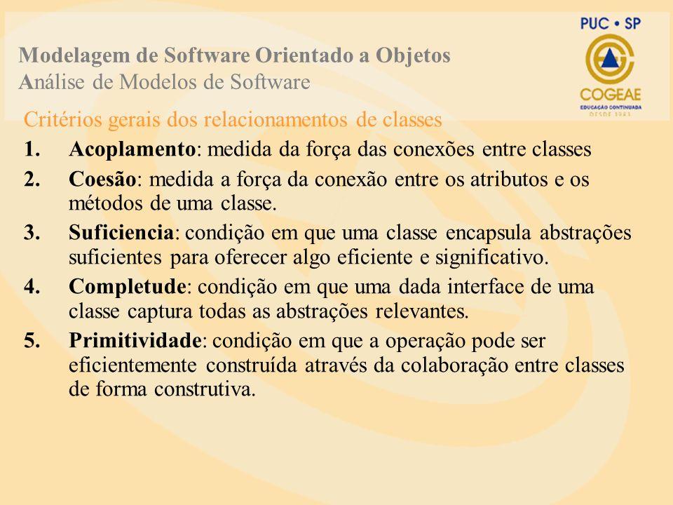 Critérios gerais dos relacionamentos de classes 1.Acoplamento: medida da força das conexões entre classes 2.Coesão: medida a força da conexão entre os atributos e os métodos de uma classe.