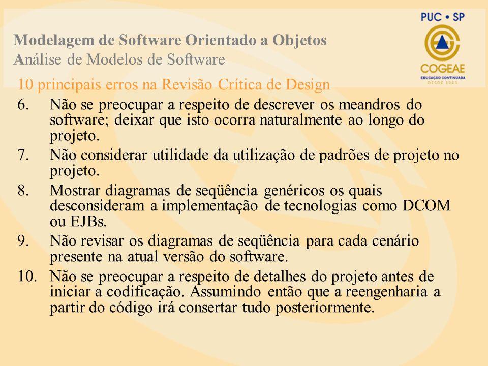 10 principais erros na Revisão Crítica de Design 6.Não se preocupar a respeito de descrever os meandros do software; deixar que isto ocorra naturalmente ao longo do projeto.