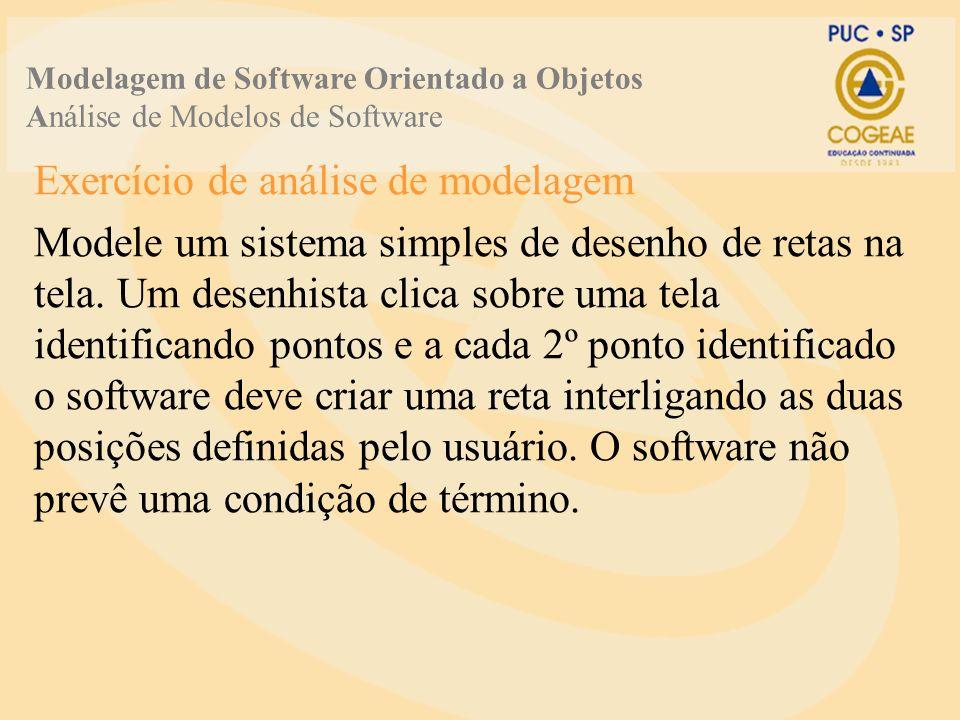 Exercício de análise de modelagem Modele um sistema simples de desenho de retas na tela.