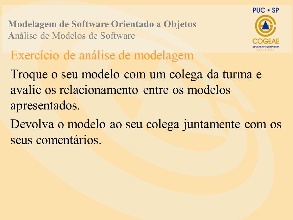 Exercício de análise de modelagem Troque o seu modelo com um colega da turma e avalie os relacionamento entre os modelos apresentados.