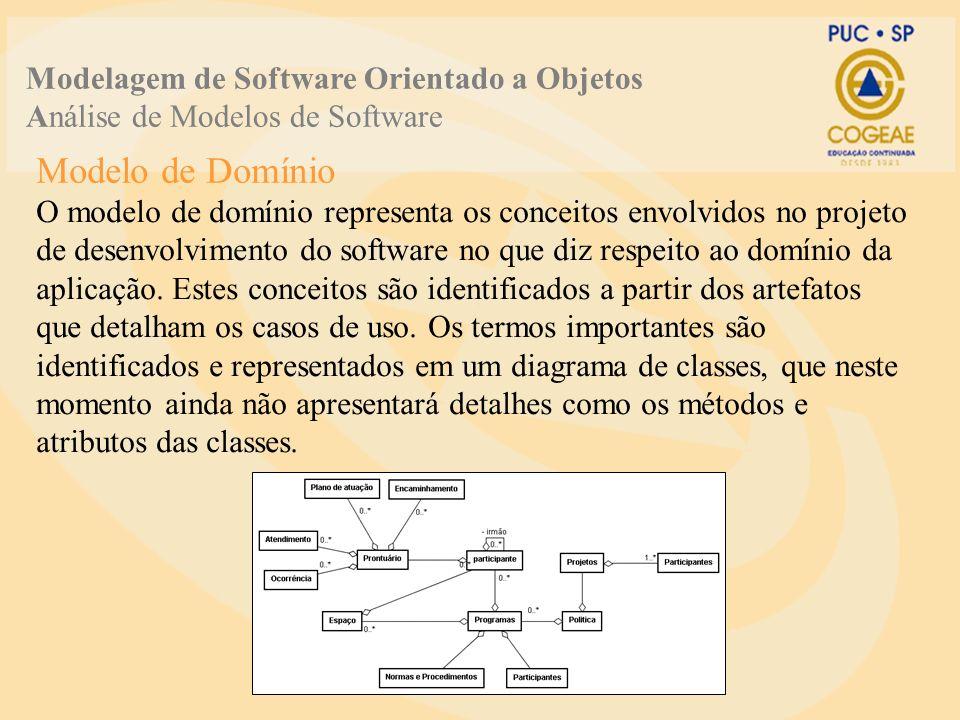 Modelagem de Software Orientado a Objetos Análise de Modelos de Software O modelo de domínio representa os conceitos envolvidos no projeto de desenvolvimento do software no que diz respeito ao domínio da aplicação.