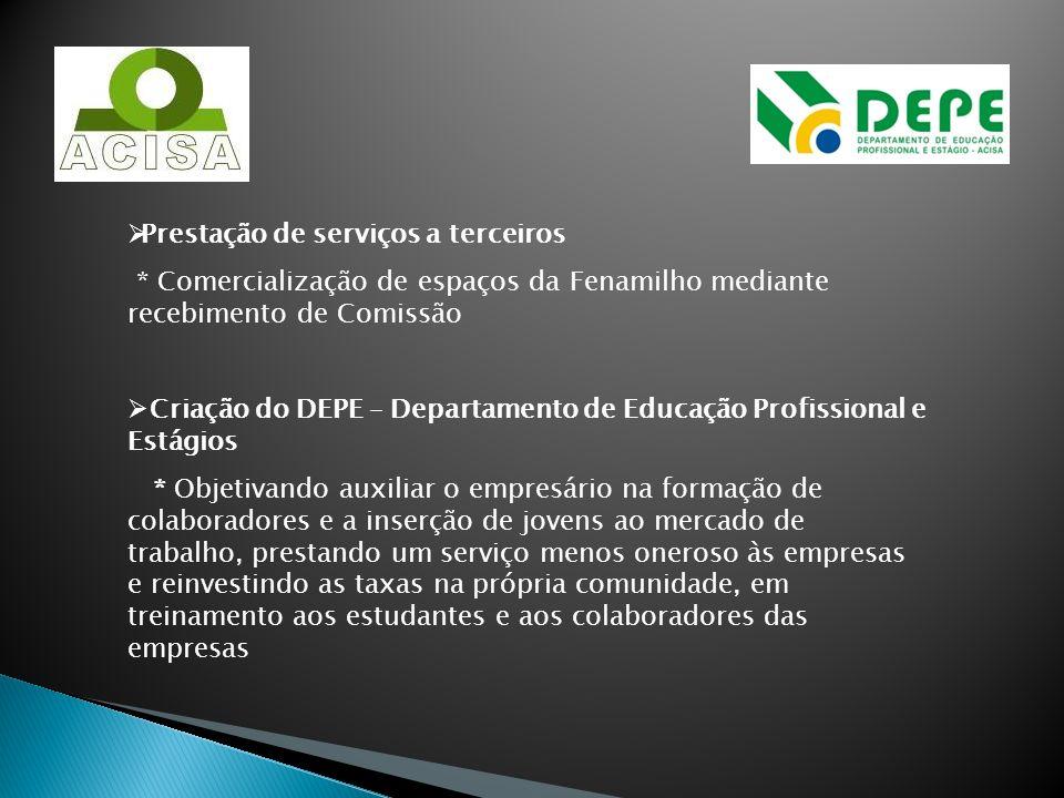 Prestação de serviços a terceiros * Comercialização de espaços da Fenamilho mediante recebimento de Comissão Criação do DEPE – Departamento de Educaçã