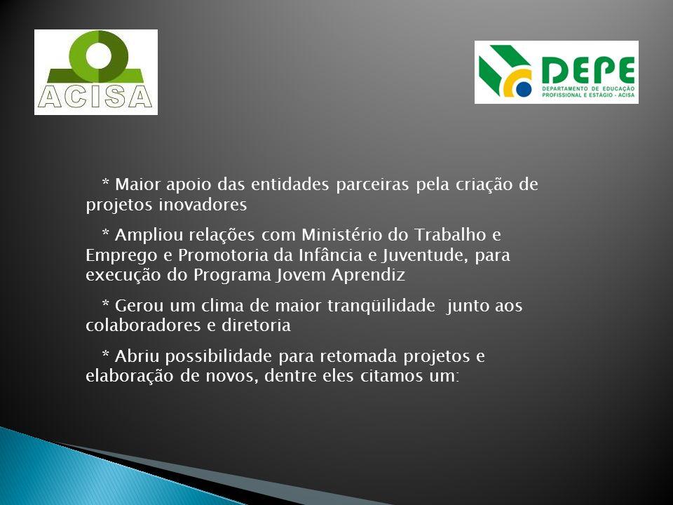 * Maior apoio das entidades parceiras pela criação de projetos inovadores * Ampliou relações com Ministério do Trabalho e Emprego e Promotoria da Infâ