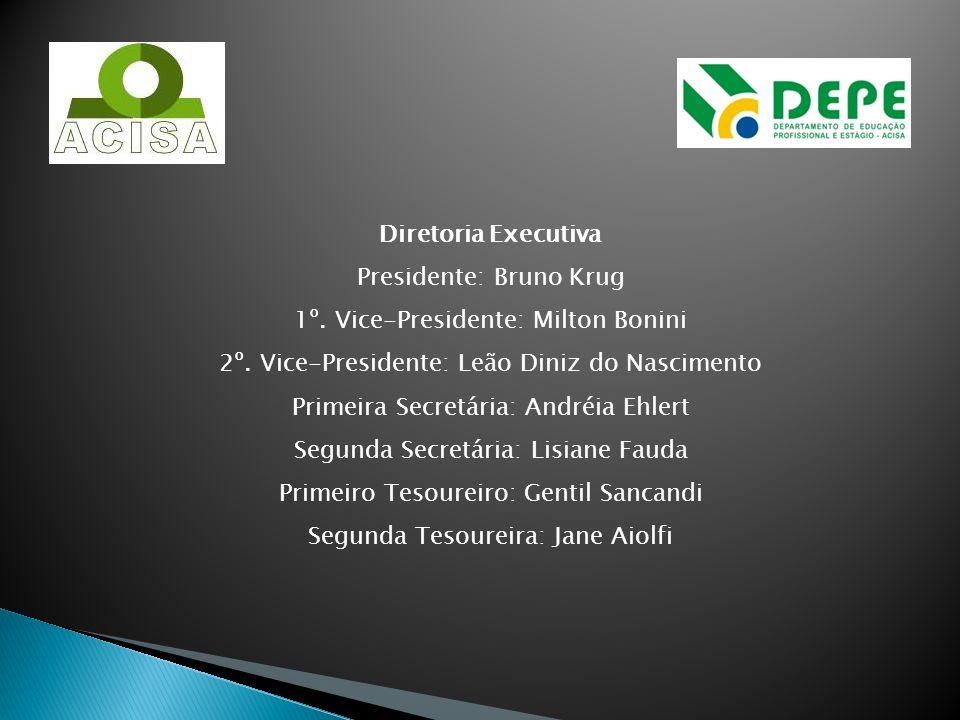 Diretoria Executiva Presidente: Bruno Krug 1º. Vice-Presidente: Milton Bonini 2º. Vice-Presidente: Leão Diniz do Nascimento Primeira Secretária: André