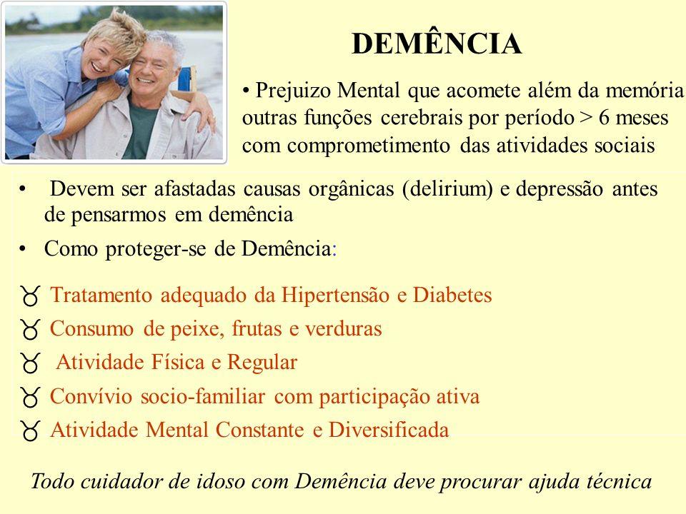 DEMÊNCIA Devem ser afastadas causas orgânicas (delirium) e depressão antes de pensarmos em demência Como proteger-se de Demência: _ Tratamento adequad