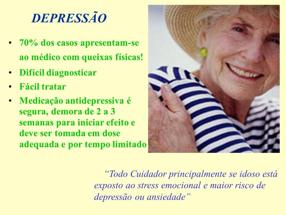 DEPRESSÃO 70% dos casos apresentam-se ao médico com queixas físicas! Difícil diagnosticar Fácil tratar Medicação antidepressiva é segura, demora de 2