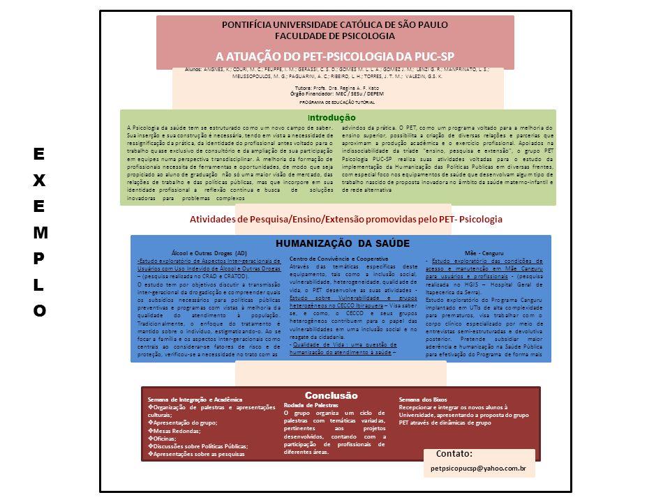 PONTIFÍCIA UNIVERSIDADE CATÓLICA DE SÃO PAULO FACULDADE DE PSICOLOGIA A ATUAÇÃO DO PET-PSICOLOGIA DA PUC-SP Alunos: ANGNES, K.; COURI, M. C.; FELIPPE,