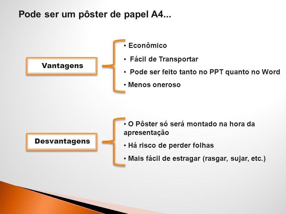 Pode ser um pôster de papel A4... Econômico Fácil de Transportar Pode ser feito tanto no PPT quanto no Word Menos oneroso O Pôster só será montado na