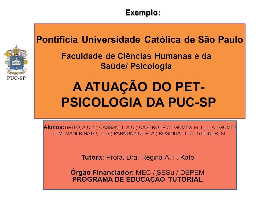 Pontifícia Universidade Católica de São Paulo Faculdade de Ciências Humanas e da Saúde/ Psicologia A ATUAÇÃO DO PET- PSICOLOGIA DA PUC-SP Órgão Financ
