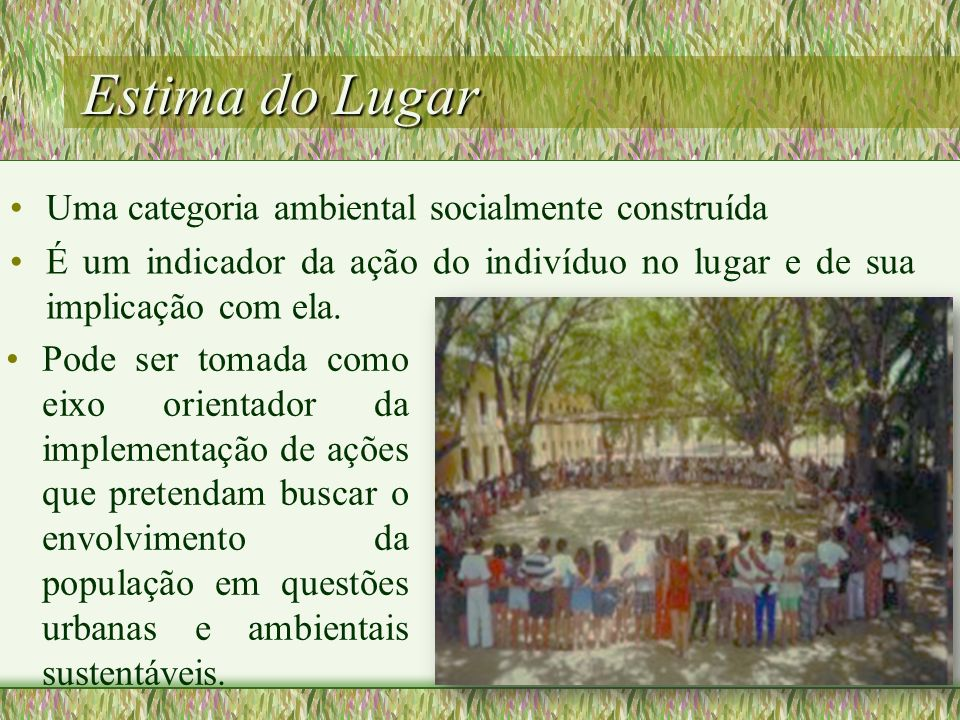 Estima do Lugar Uma categoria ambiental socialmente construída É um indicador da ação do indivíduo no lugar e de sua implicação com ela. Pode ser toma