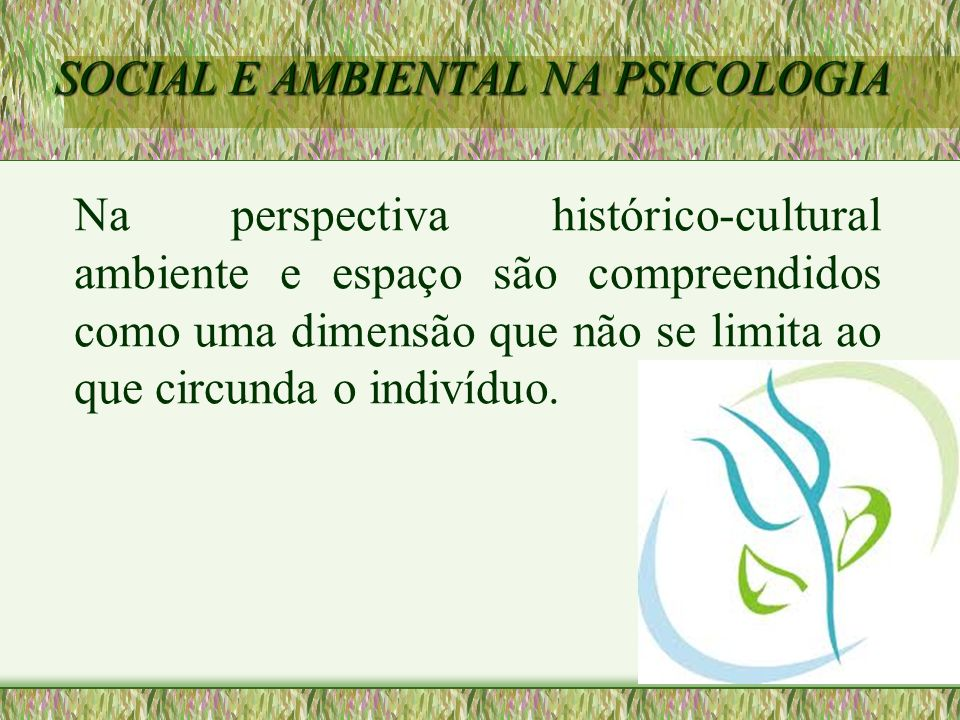 SOCIAL E AMBIENTAL NA PSICOLOGIA Na perspectiva histórico-cultural ambiente e espaço são compreendidos como uma dimensão que não se limita ao que circ