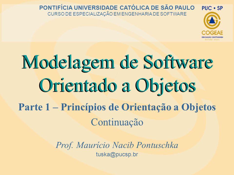 Modelagem de Software Orientado a Objetos Parte 1 – Princípios de Orientação a Objetos Continuação tuska@pucsp.br PONTIFÍCIA UNIVERSIDADE CATÓLICA DE