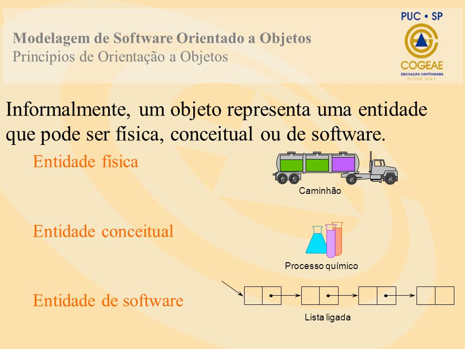 Informalmente, um objeto representa uma entidade que pode ser física, conceitual ou de software. Entidade física Entidade conceitual Entidade de softw