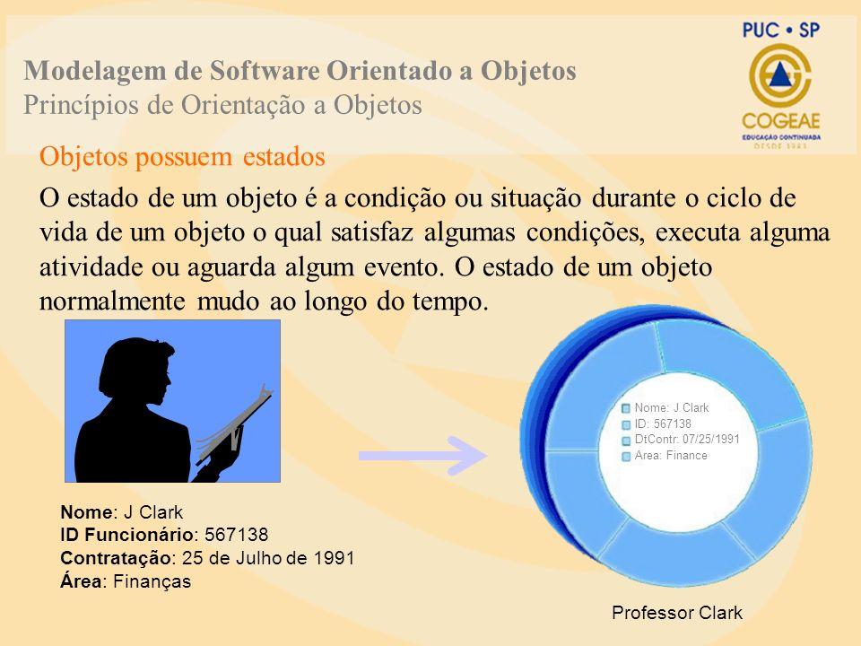 Objetos possuem estados O estado de um objeto é a condição ou situação durante o ciclo de vida de um objeto o qual satisfaz algumas condições, executa