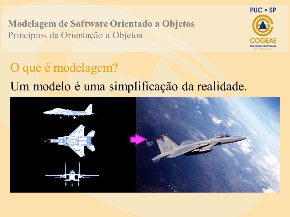Modelagem de Software Orientado a Objetos Princípios de Orientação a Objetos O que é modelagem? Um modelo é uma simplificação da realidade.